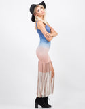 Side View of Light Suede Ombre Dress
