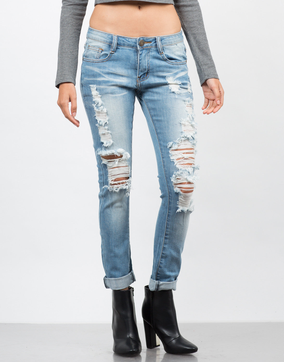 Front View of Light Wash Destroyed Ankle Jeans