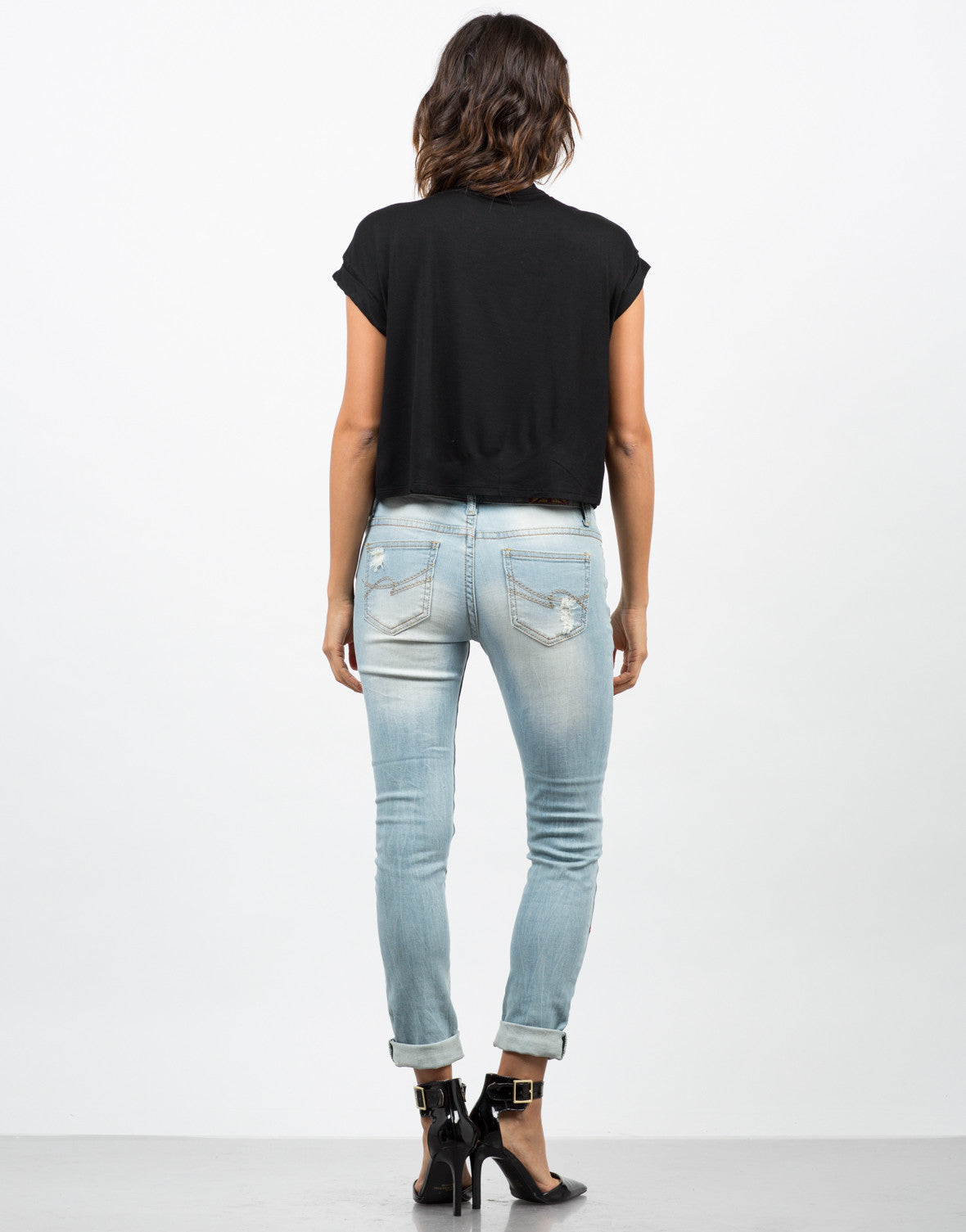 Back View of Light Wash Distressed Jeans