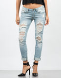 Front View of Light Wash Distressed Jeans