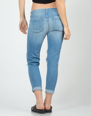 Back View of Light Washed Cropped Skinny Jeans
