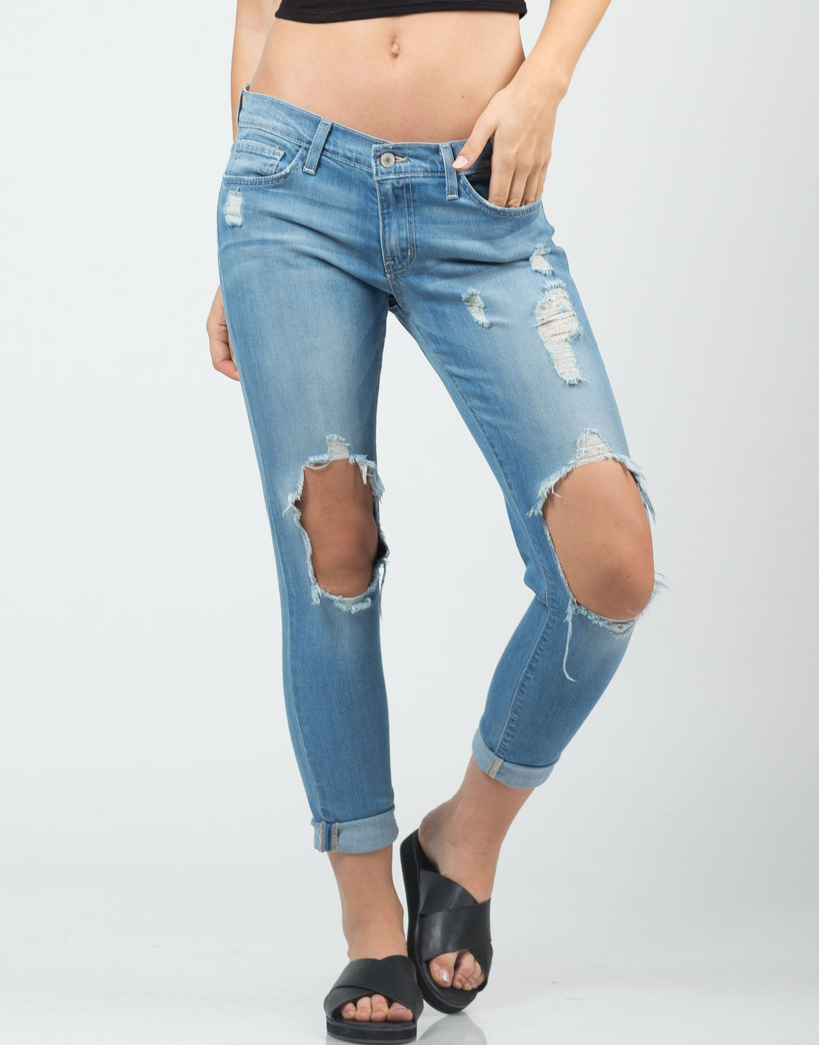 Front View of Light Washed Cropped Skinny Jeans