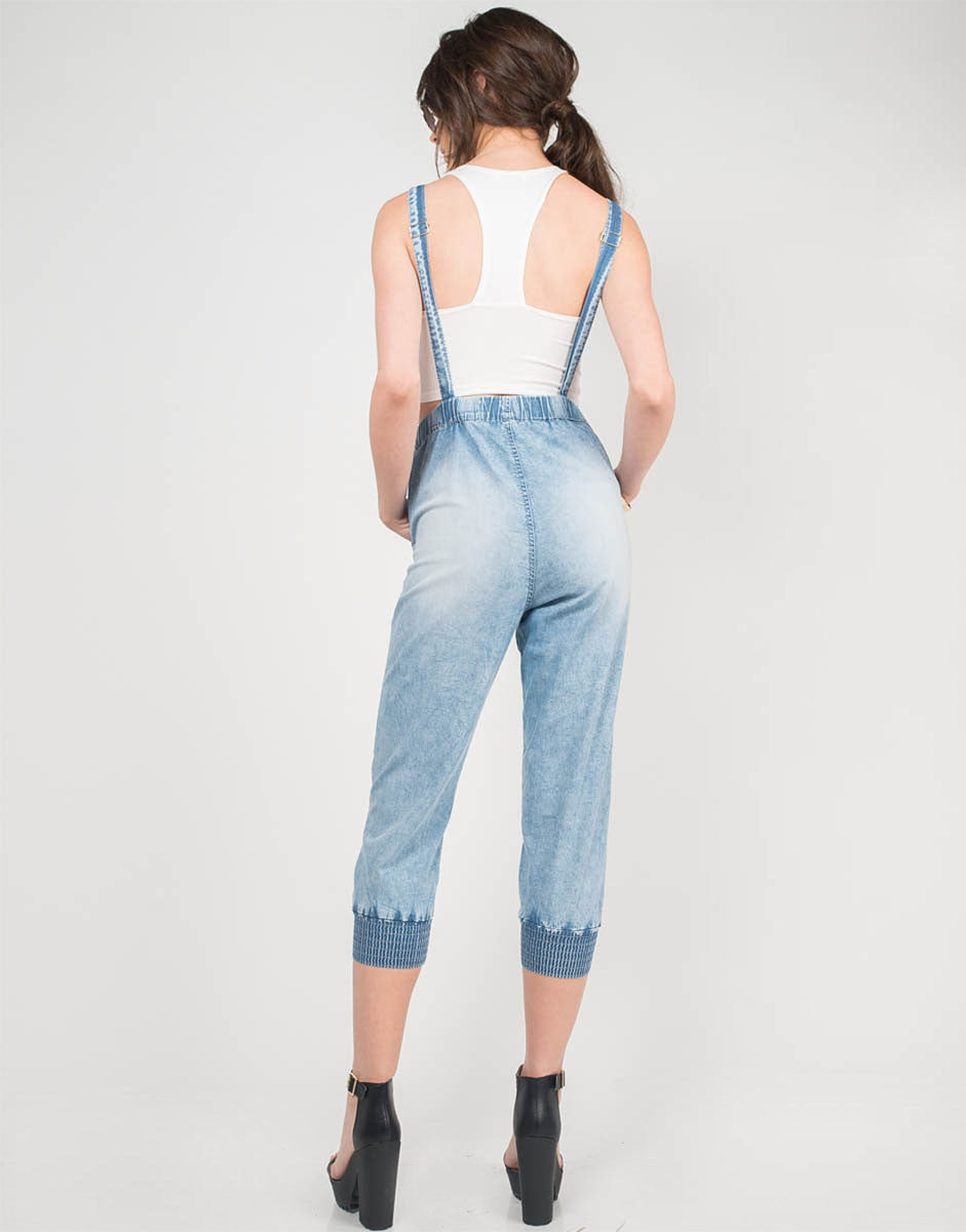 Back View of Light Washed Denim Overalls