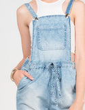 Detail of Light Washed Denim Overalls