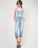 Front View of Light Washed Denim Overalls