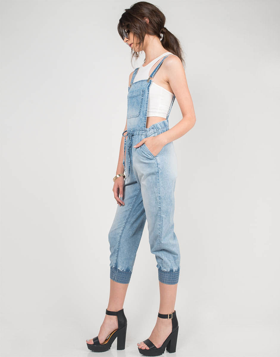 Side View of Light Washed Denim Overalls