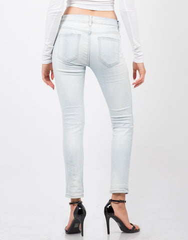 Back View of Light Wash Skinny Jeans