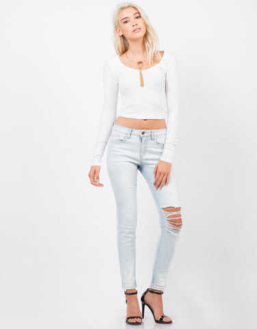 Front View of Light Wash Skinny Jeans