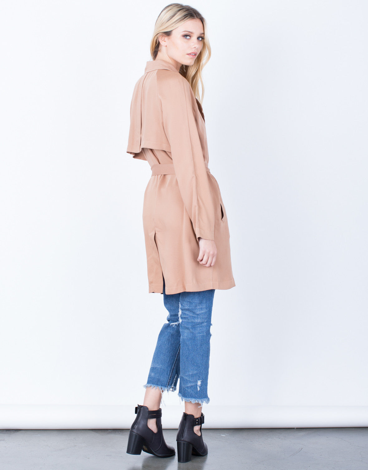 Back View of Lightweight Buttoned Trench Jacket