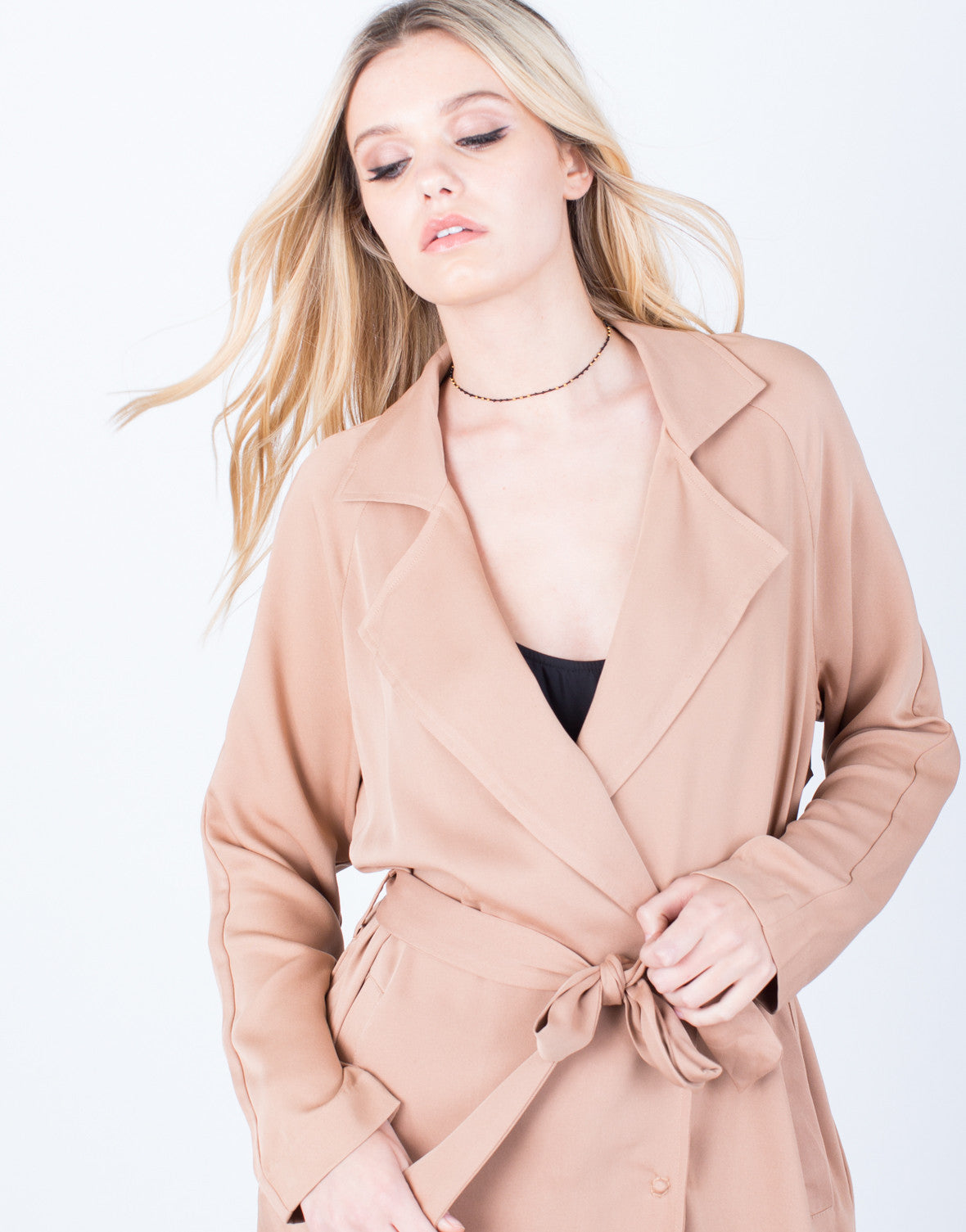 Detail of Lightweight Buttoned Trench Jacket
