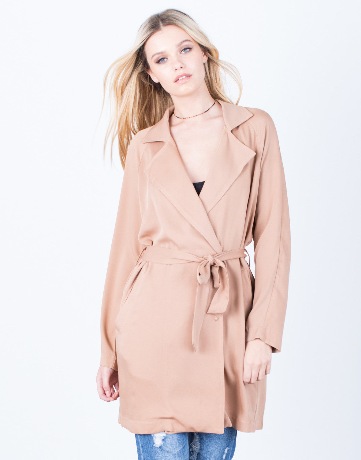 Front View of Lightweight Buttoned Trench Jacket