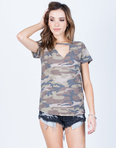 Front View of Lightweight Camo Tee