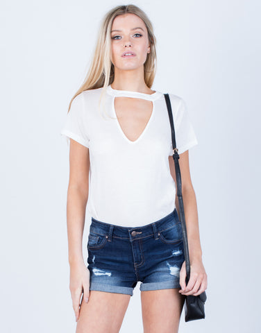 Front View of Lightweight Cuffed Denim Shorts