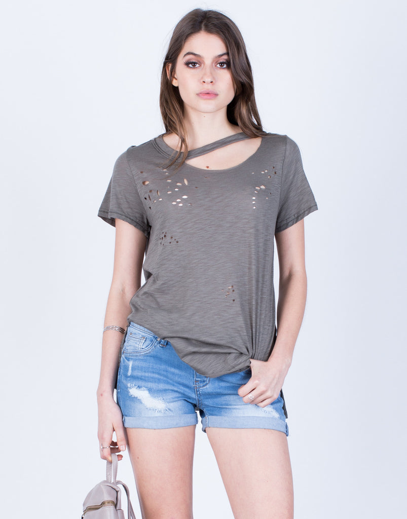 Front View of Lightweight Cut Out Tee