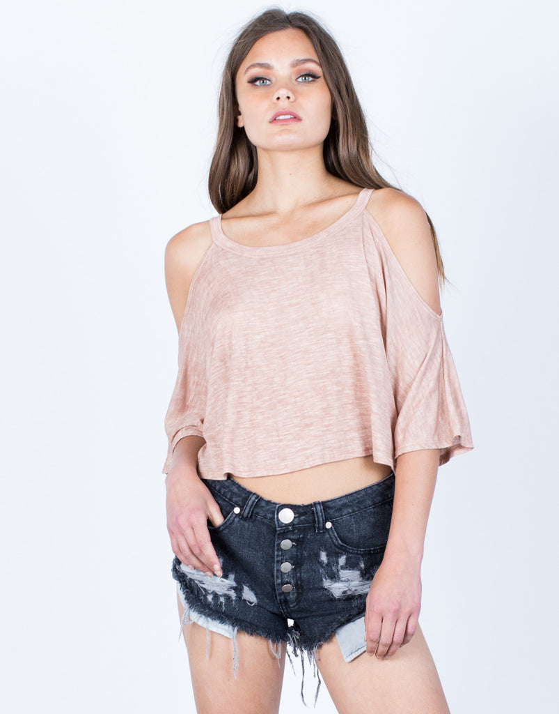 Front View of Lightweight Dolman Crop Top