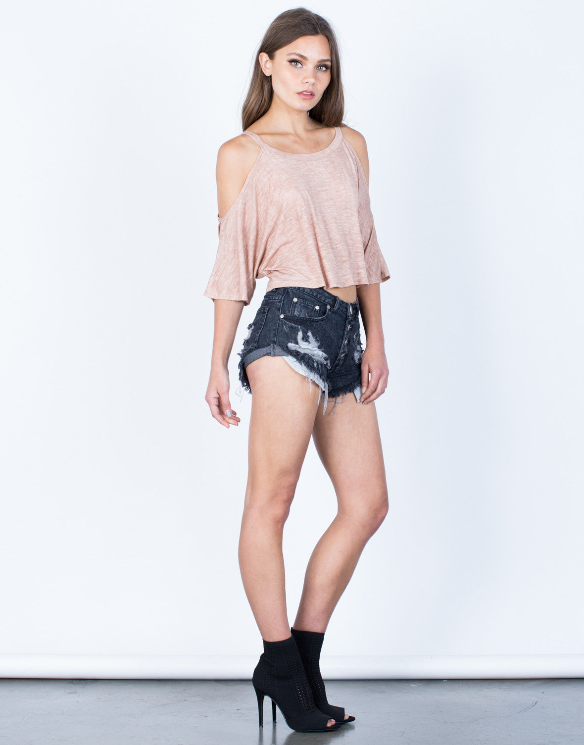 Side View of Lightweight Dolman Crop Top