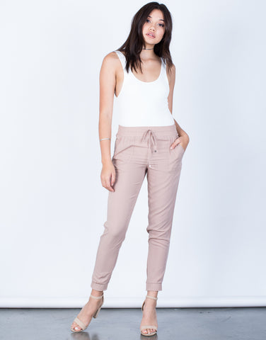 Front View of Lightweight Drawstring Pants