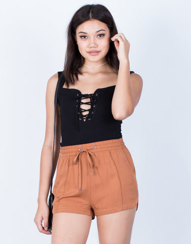 Front View of Lightweight Flowy Shorts
