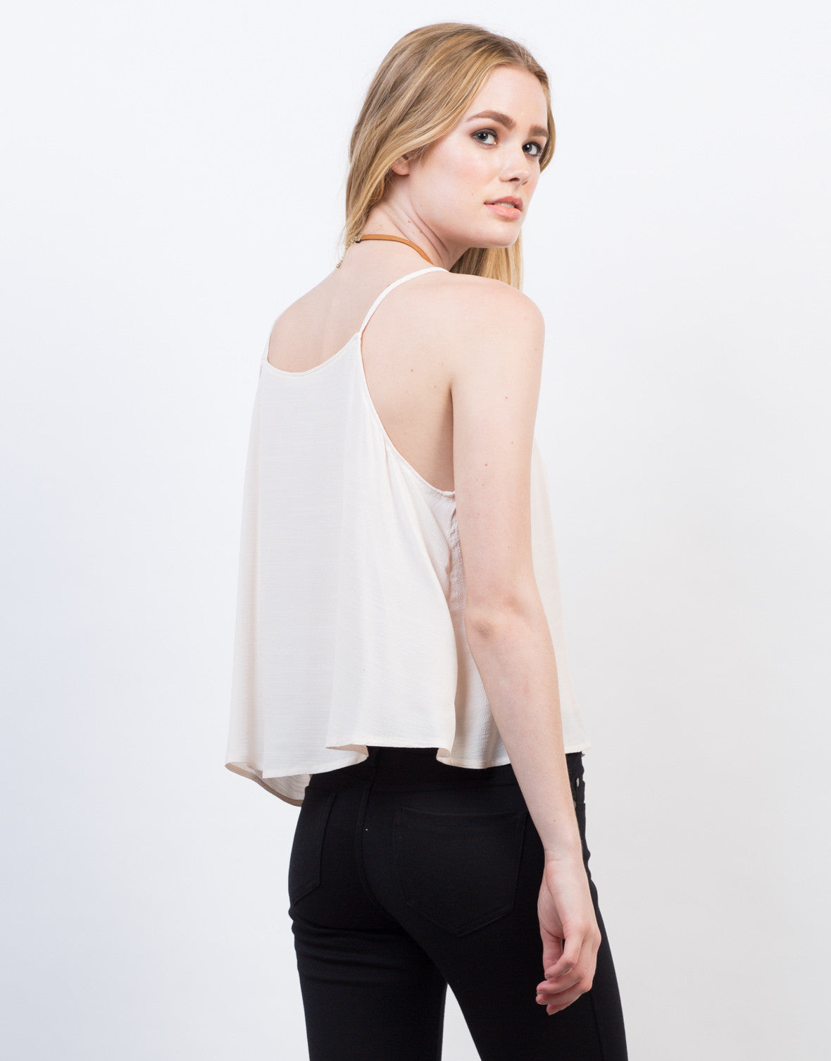 Back View of Lightweight High Neck Cami Top