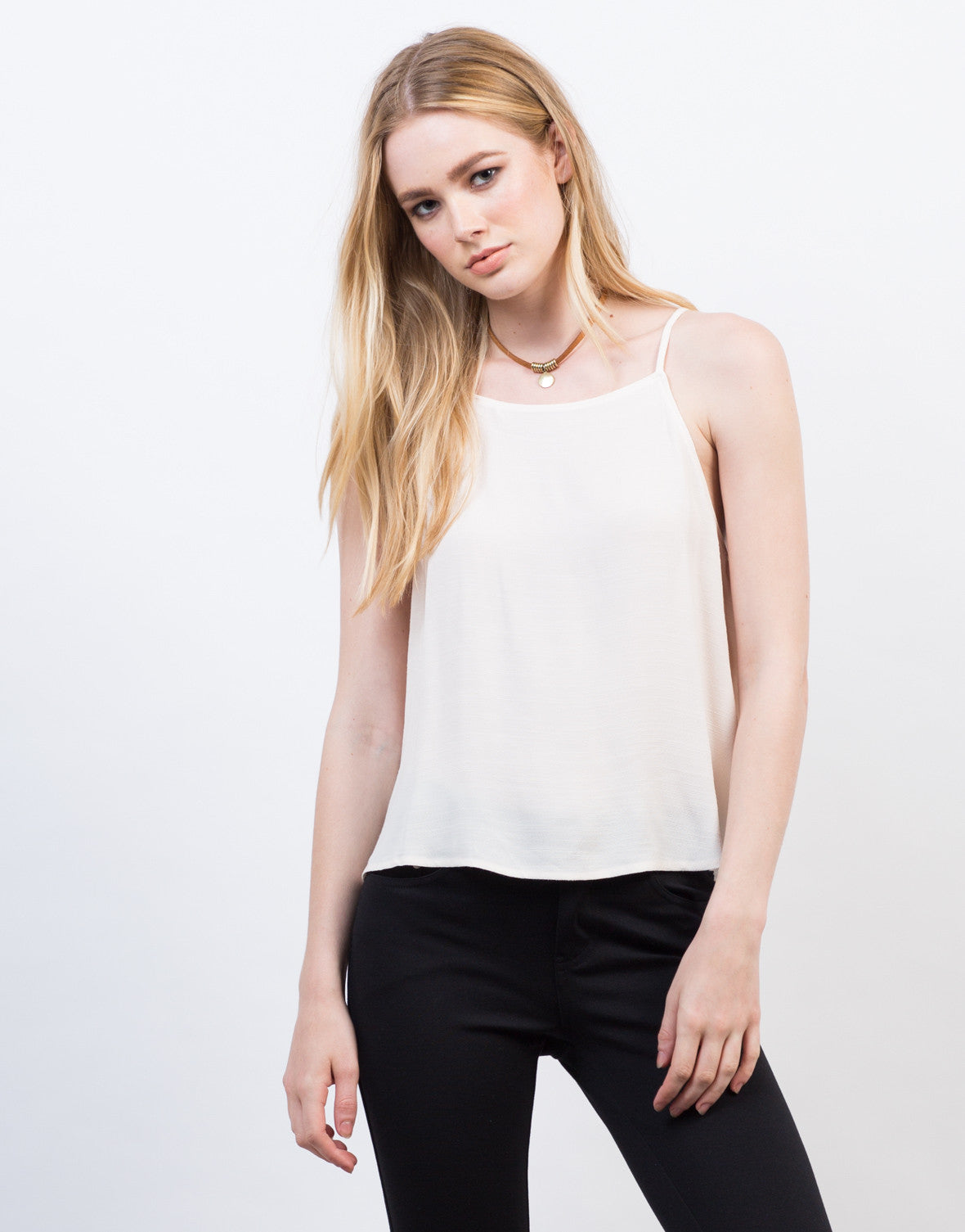 Front View of Lightweight High Neck Cami Top