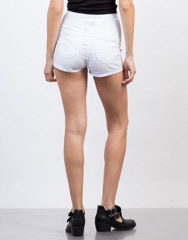 Back View of Lightweight High Waisted Shorts