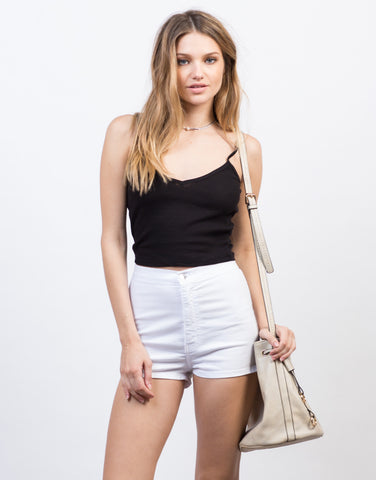 Front View of Lightweight High Waisted Shorts