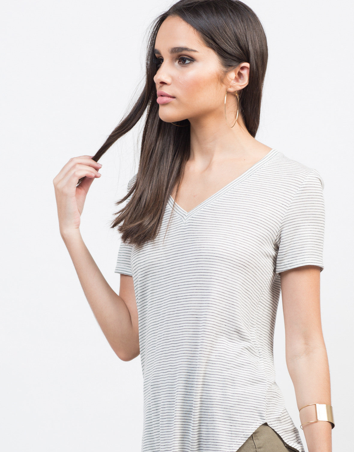 Lightweight Knit Striped Tee