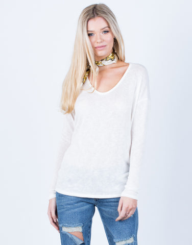 Front View of Lightweight L/S Knit Top