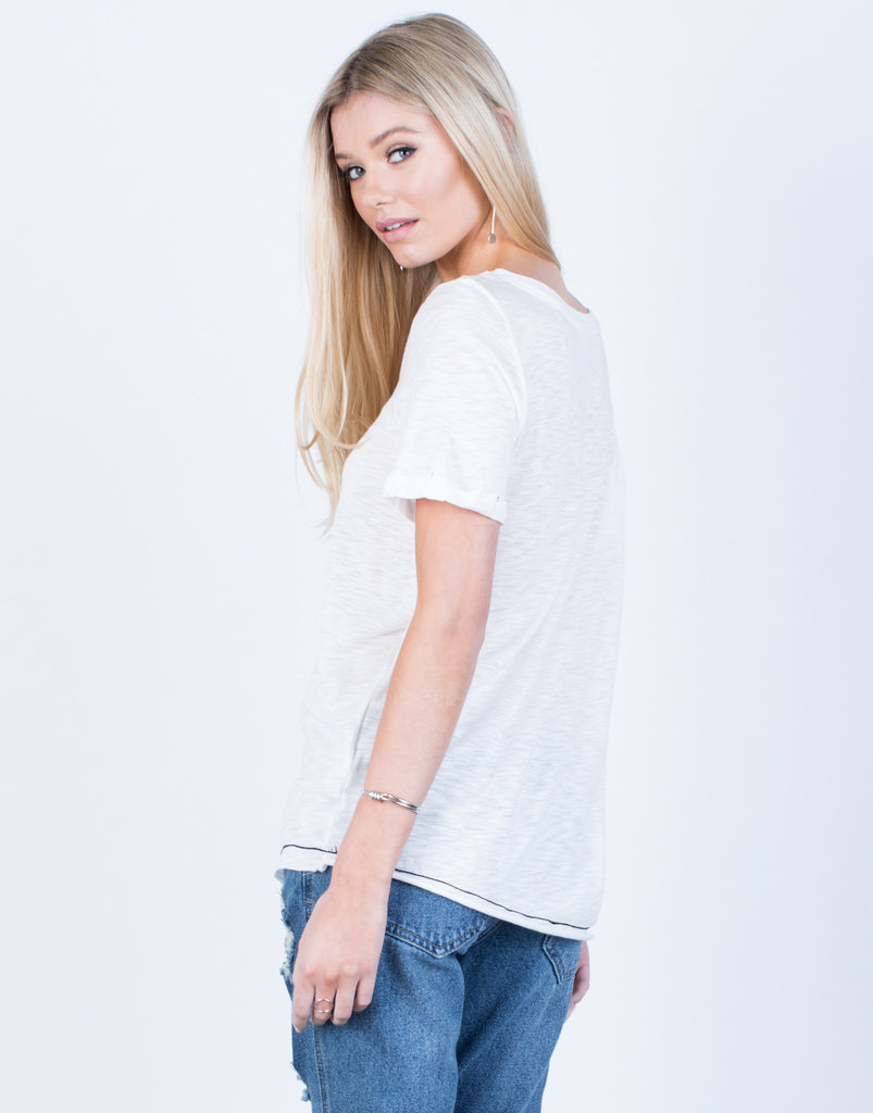 Back View of Lightweight Lace-Up Tee