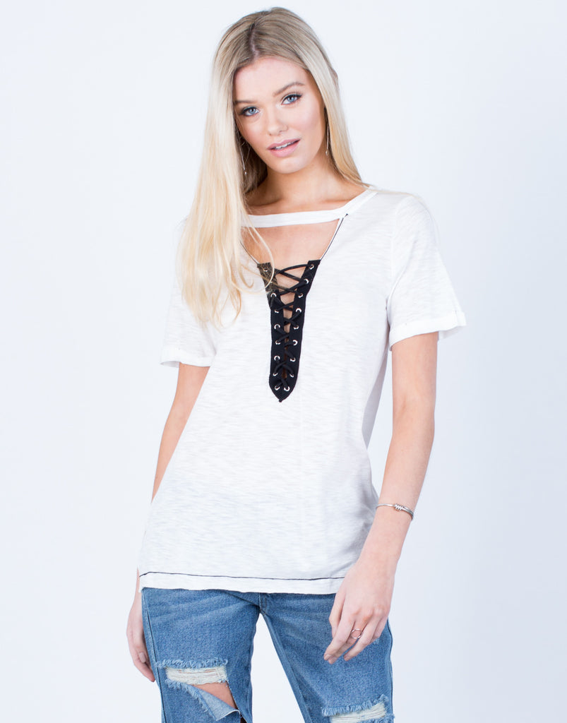 Front View of Lightweight Lace-Up Tee