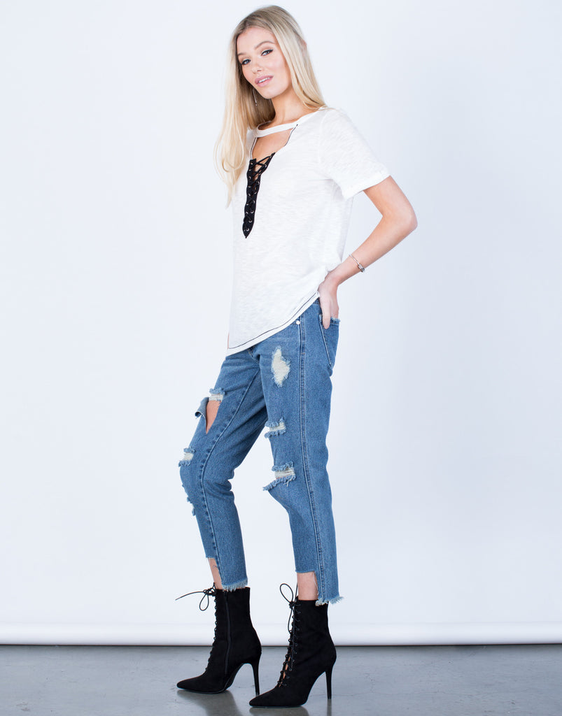 Side View of Lightweight Lace-Up Tee