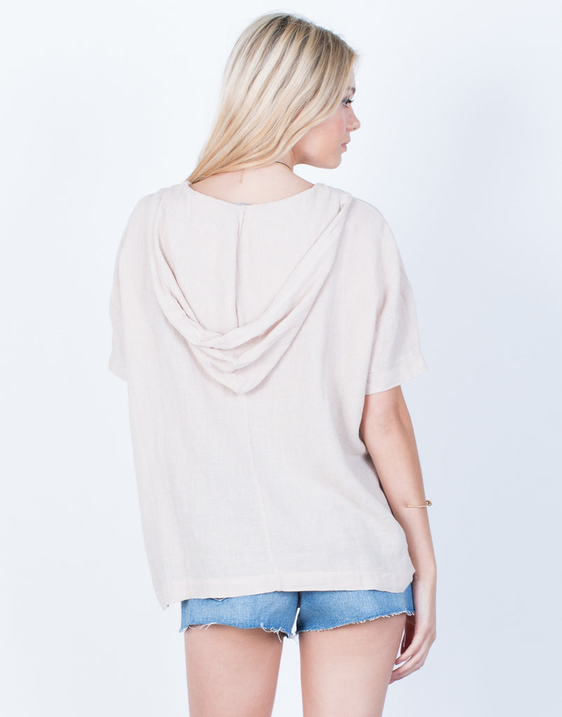 Back View of Lightweight Linen Hoodie