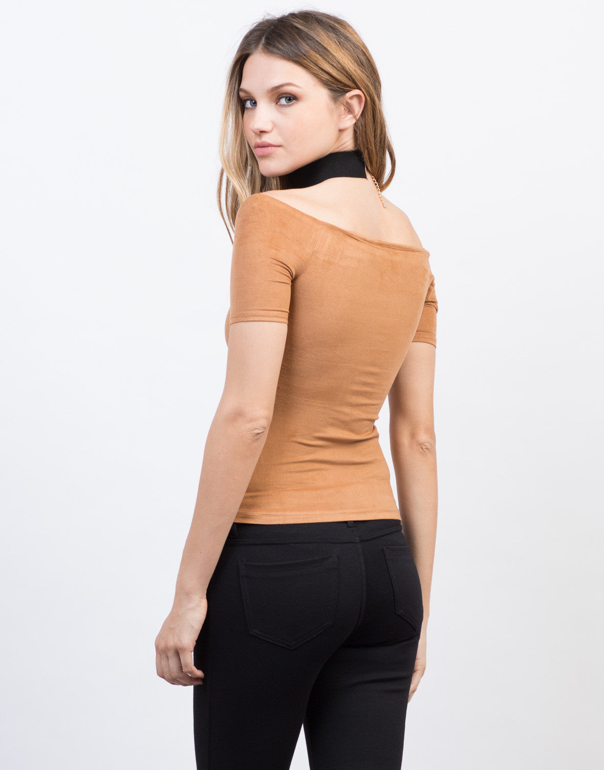Back View of Lightweight Suede Top