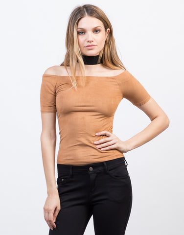 Front View of Lightweight Suede Top