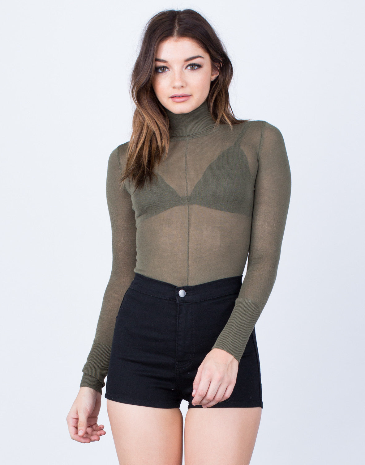 Front View of Lightweight Sweater Bodysuit