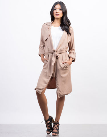 Front View of Lightweight Trench Jacket