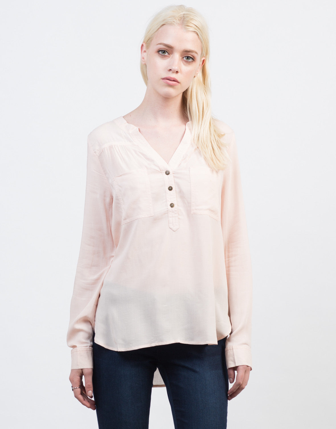 Front View of Lightweight Triple Buttoned Shirt