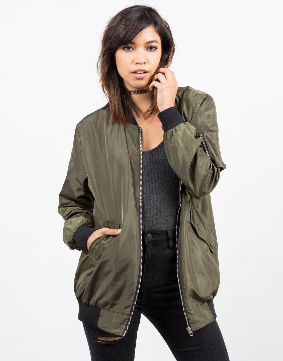 Front View of Lightweight Bomber Jacket