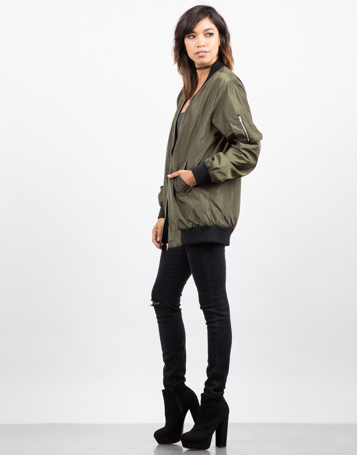 Side View of Lightweight Bomber Jacket