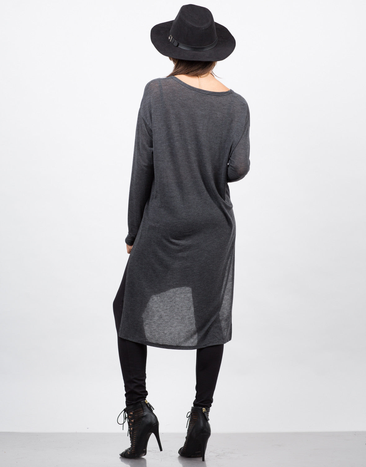 Back View of Lightweight Button Down Cardigan