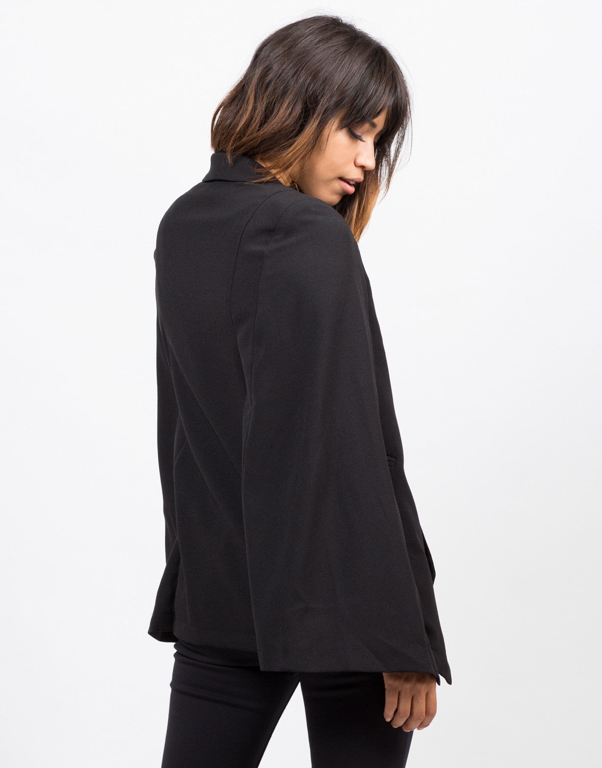 Back View of Lightweight Cape Blazer