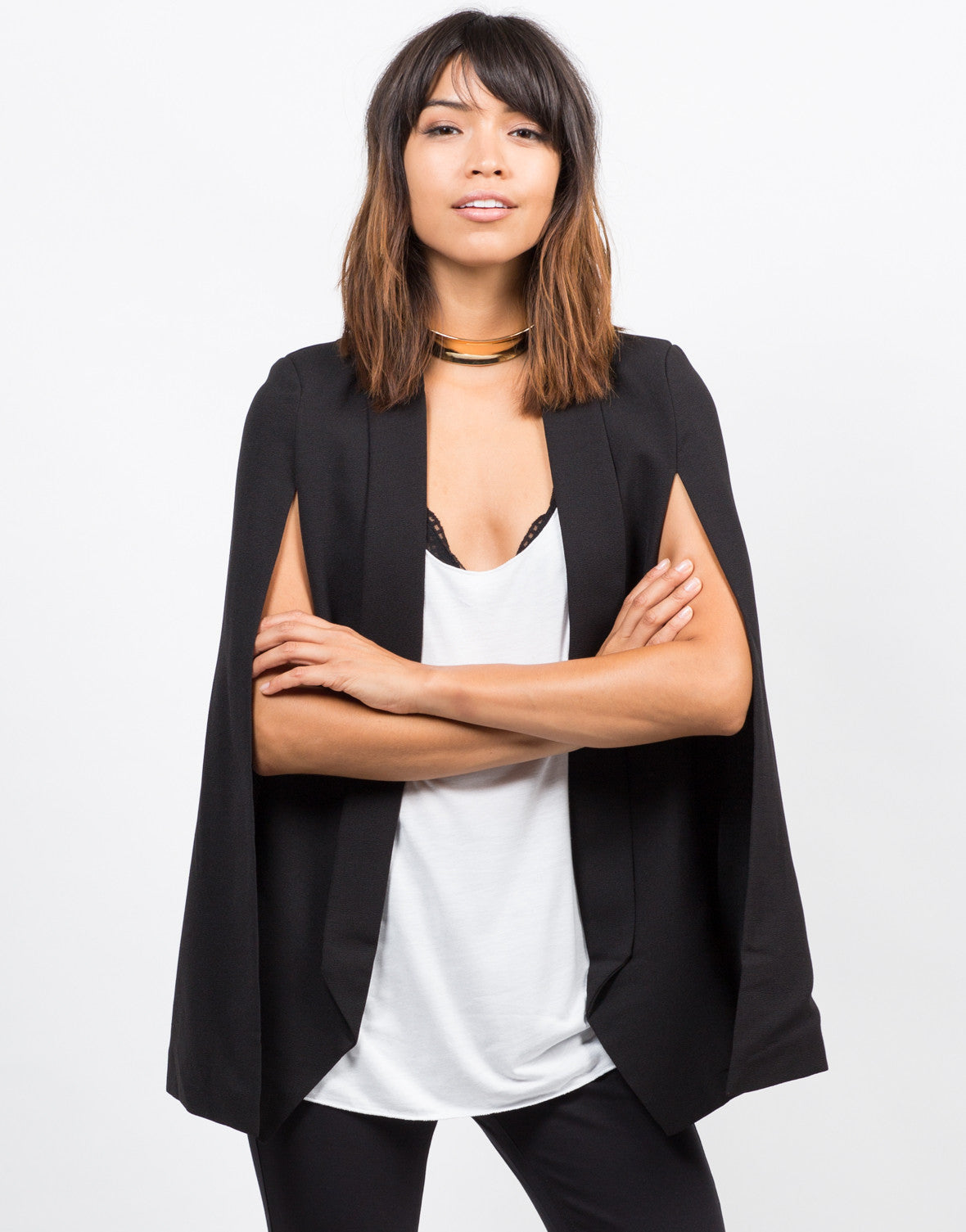 Front View of Lightweight Cape Blazer