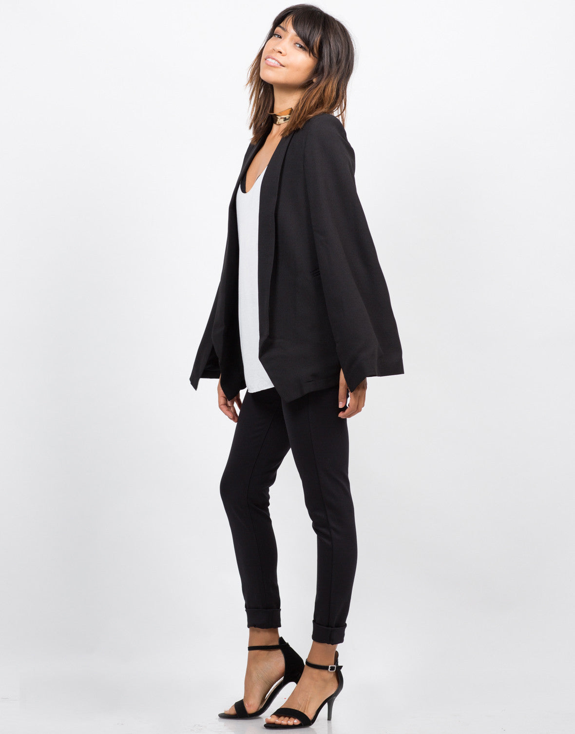 Side View of Lightweight Cape Blazer