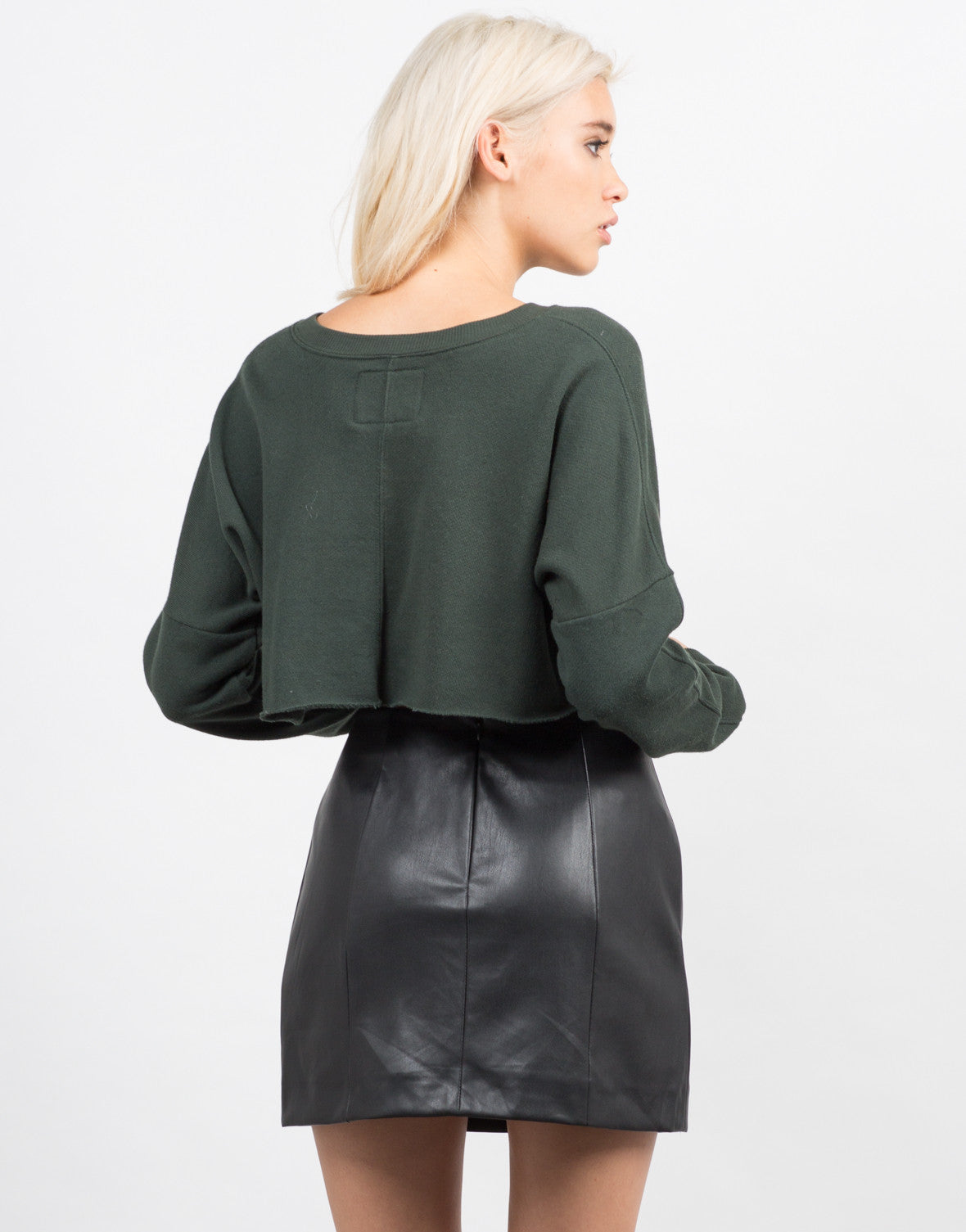 Back View of Lightweight Crop Sweater