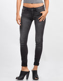 Front View of Lightweight Faded Wash Skinny Jeans