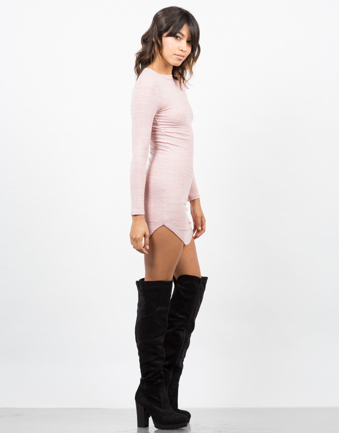Side View of Lightweight Long Sleeve Dress