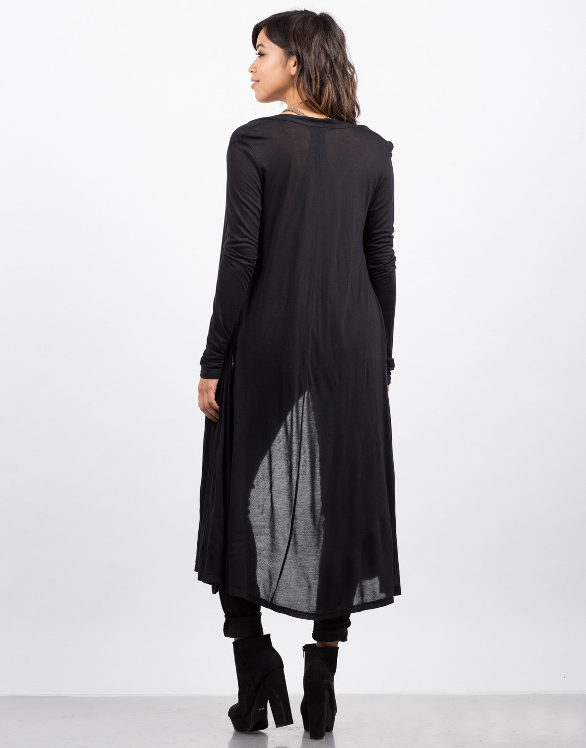 Back View of Lightweight Maxi Cardigan