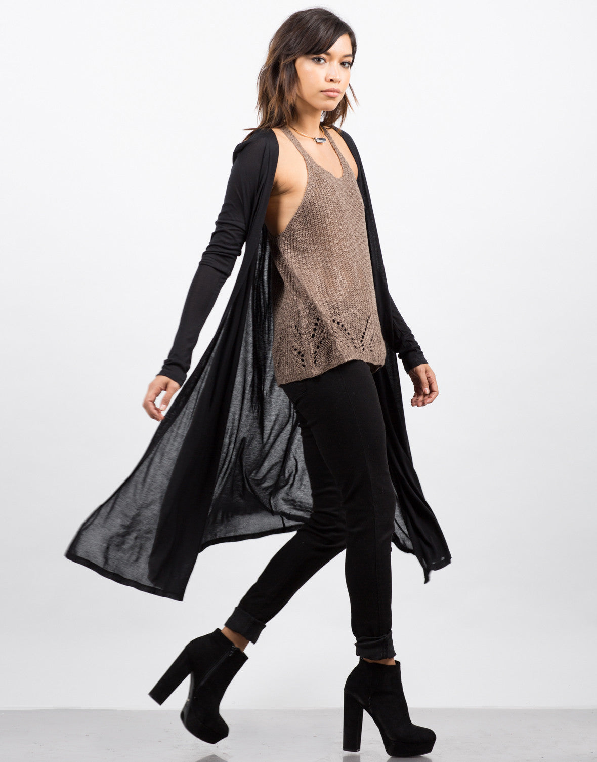 Side View of Lightweight Maxi Cardigan