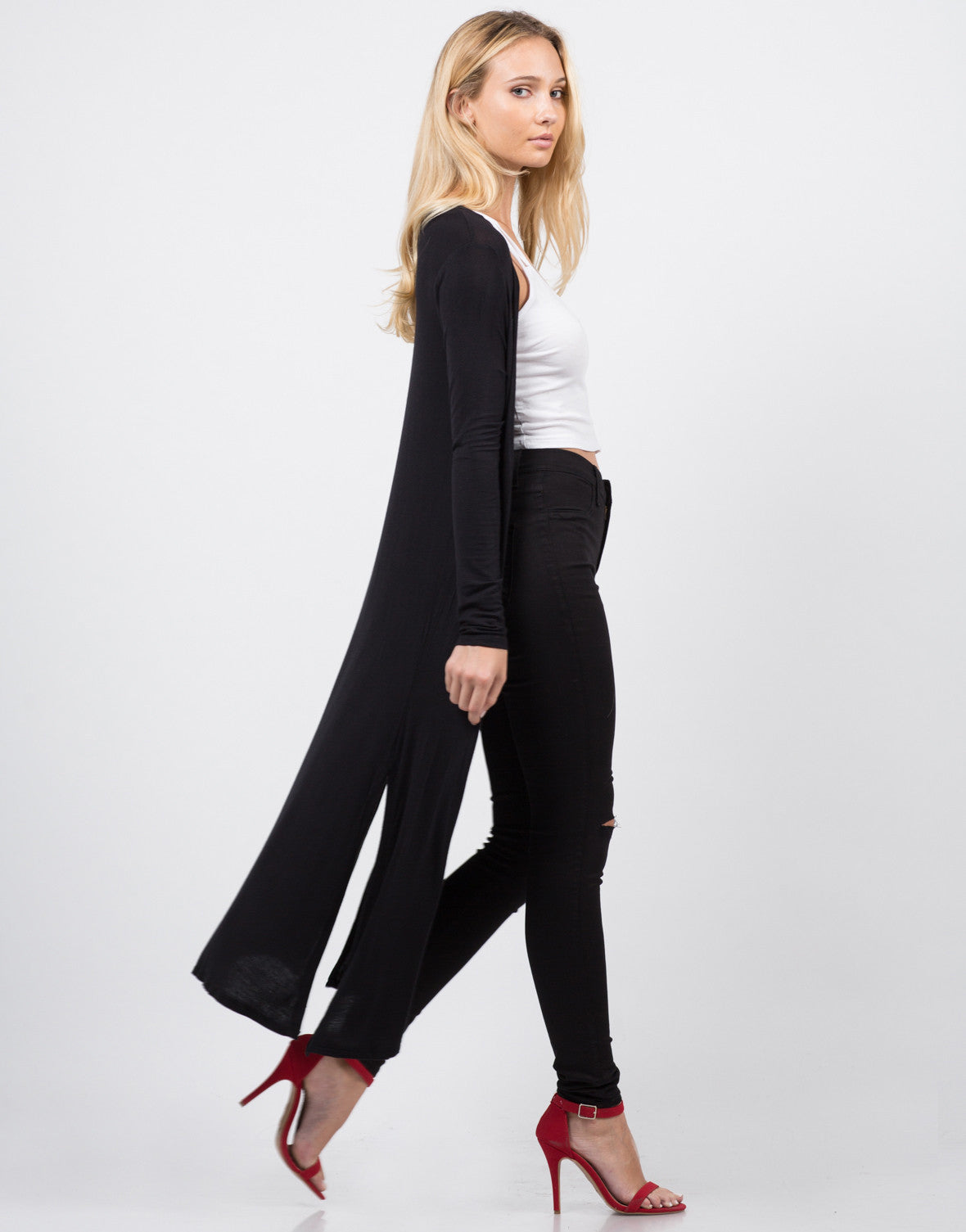 Side View of Lightweight Oversize Cardigan