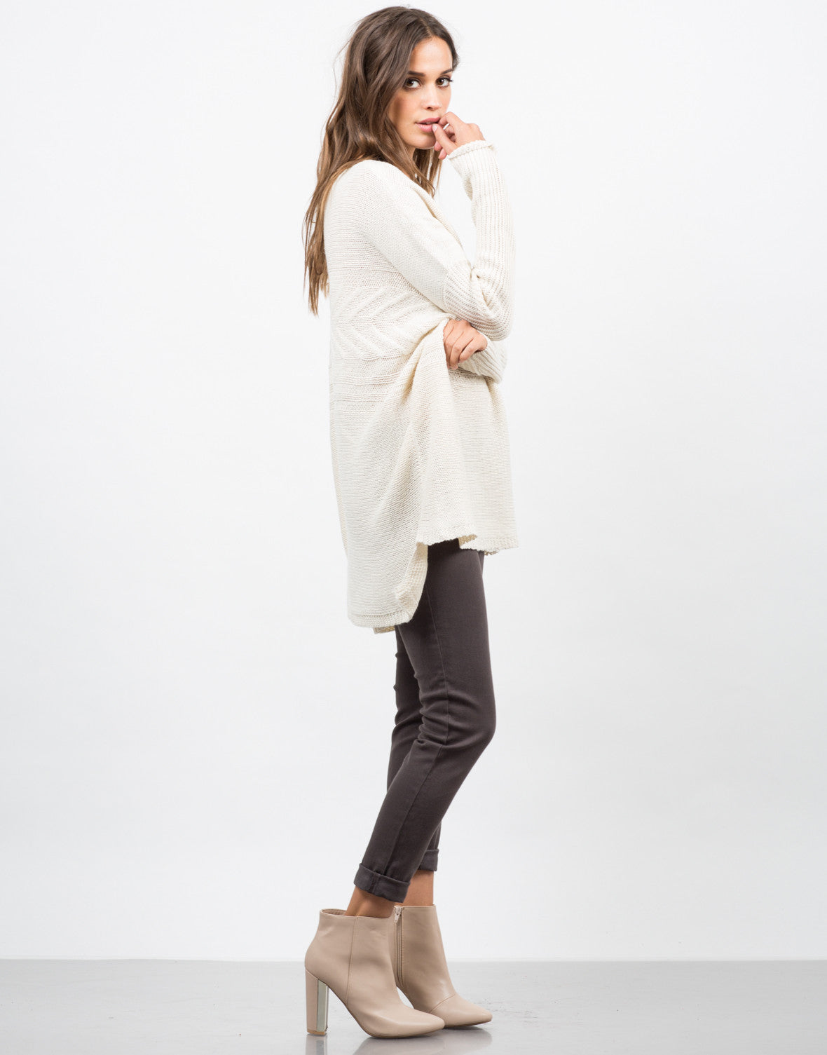 Side View of Lightweight Oversized Knit Sweater
